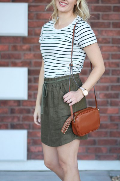 black and white striped t shirt with green linen elastic waist mini skirt