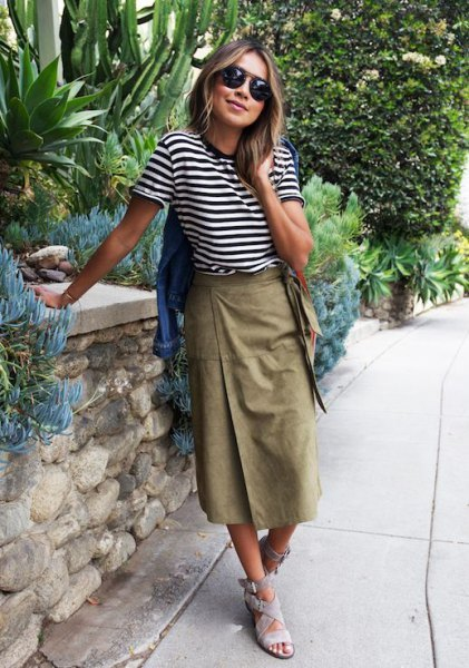 black and white striped t-shirt with a long khaki wrap skirt