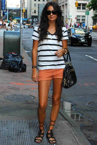 black and white striped t-shirt with mini-shorts in orange