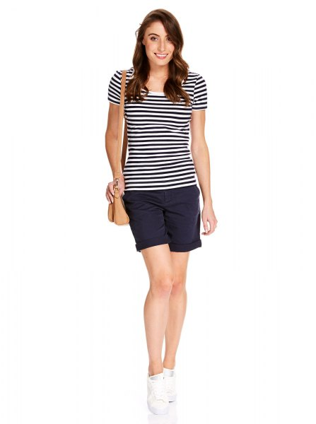 black and white striped t-shirt with dark blue mini shorts