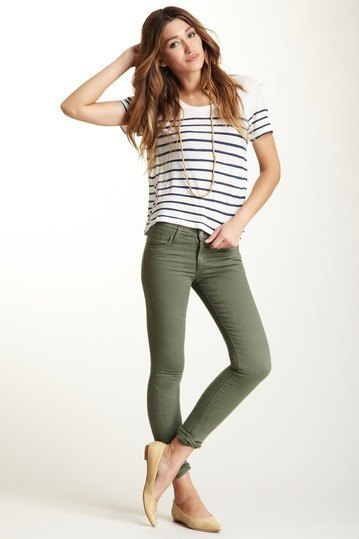 black and white striped t-shirt with olive green skinny jeans