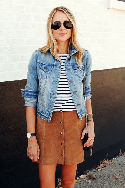 black and white striped t-shirt and denim jacket