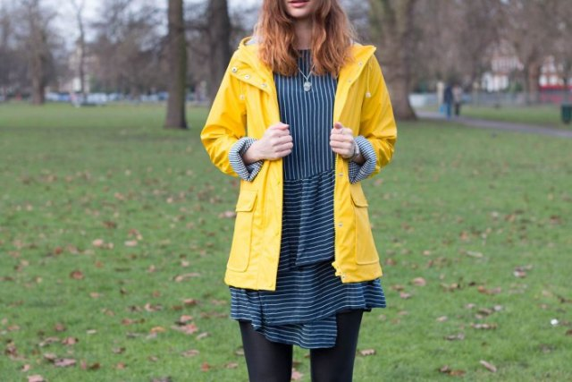 black and white striped t-shirt dress yellow raincoat