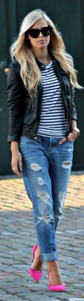 black and white striped t-shirt leather jacket
