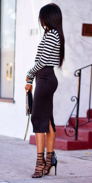 black and white striped t-shirt strappy heels