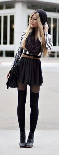 black and white striped t-shirt with mini skater skirt and tights with belt