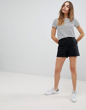 black and white striped t-shirt with chino shorts