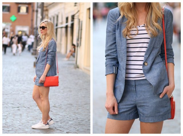 black and white striped t-shirt with jeans blazer and matching shorts