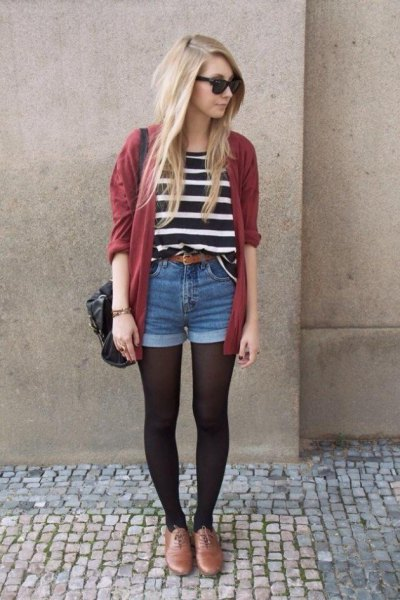 black and white striped t-shirt with green cardigan and denim shorts