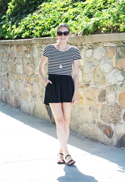 black and white striped t-shirt with high-waisted silk shorts