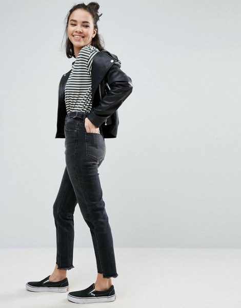 black and white striped t-shirt with leather biker jacket