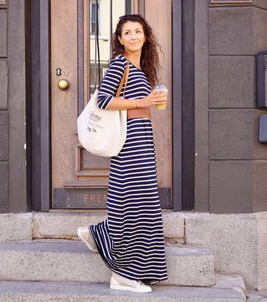 black and white striped maxi dress with three-quarter sleeves
