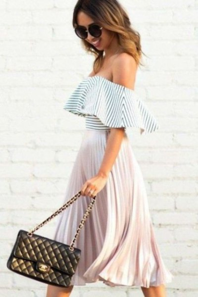 black and white striped pleated upper skirt