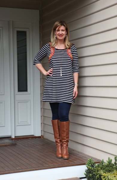 black and white striped tunic dress jeans boots