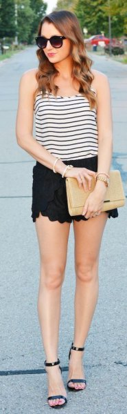 black and white striped vest top