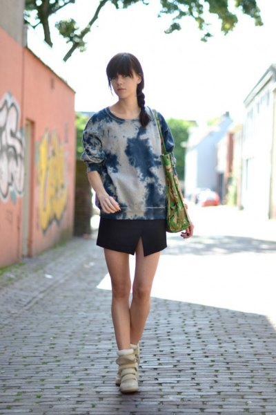 Black and white tie dye hoodie with mini skirt