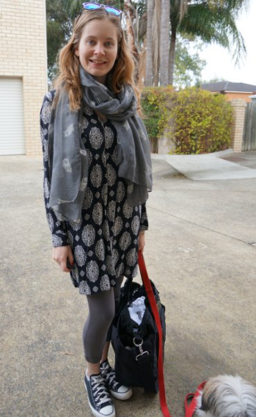 elegant tunic top with tribal print in black and white and gray scarf