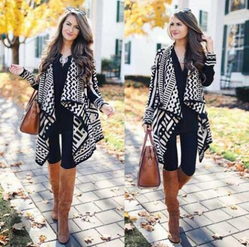 black and white tribal printed long cashmere waterfall cardigan