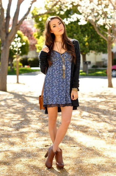 Black and white mini dress with tribal print and long cardigan