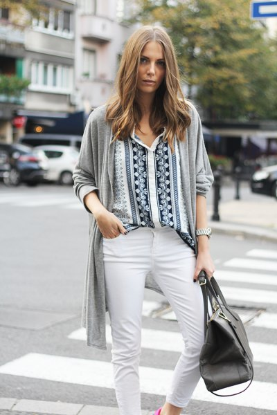 black and white tribal printed shirt with gray cardigan