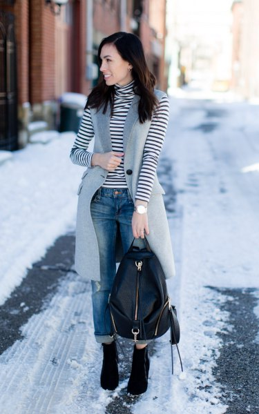 black and white striped turtleneck long sleeve T-shirt with gray wool long vest