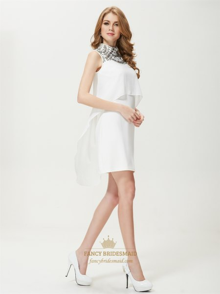 black and white two-layer mini dress with rounded toe pumps