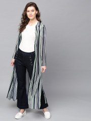 black and white vertical striped maxi shrug
