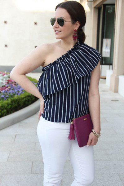black and white vertical striped sleeveless blouse with one shoulder
