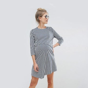 black and white vertical striped shirt dress