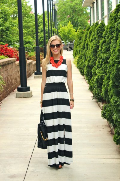 wide striped maxi dress in black and white