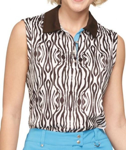 Sleeveless polo shirt with zebra print in black and white and sky blue jeans
