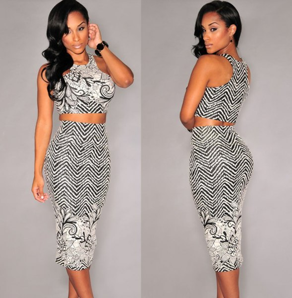 two-piece midi dress with a black and white zigzag pattern