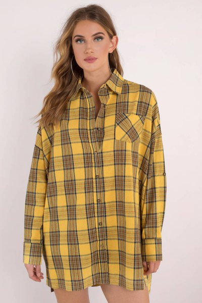 black and yellow plaid shirt dress with buttons and mini shorts