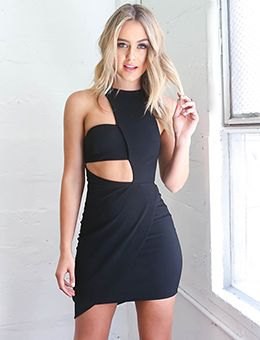 black, asymmetrically cut, figure-hugging mini dress