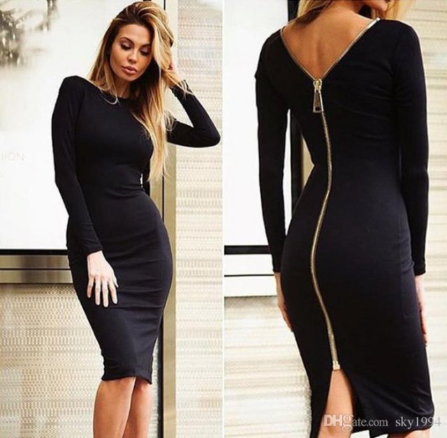 black zipper midi bodycon long sleeve dress