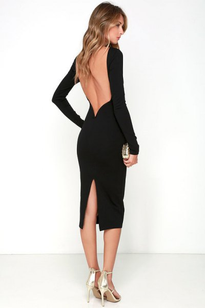 black backless midi dress, silver heels