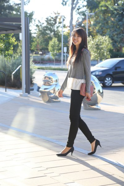black ballet kitten heels with gray and white black sweater