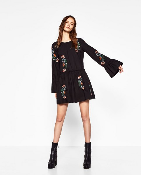 black, flower embroidered skater mini dress with bell sleeves