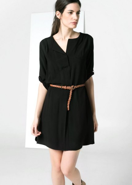 black shirt with shirt and belt