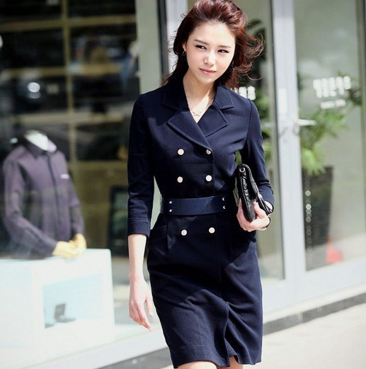 black double-breasted suit dress with belt