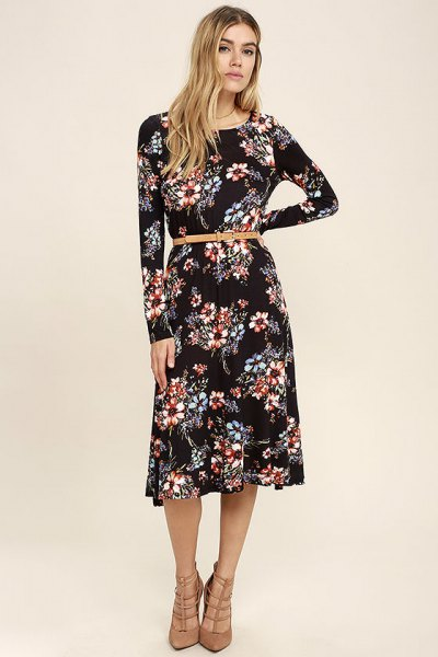 black, floral printed midi long-sleeved shift dress with belt