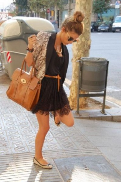 black belted lace mini dress with pink floral blazer