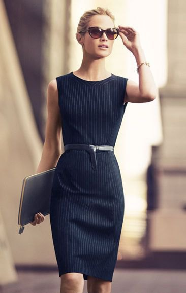 black shift dress with belt and white stripes
