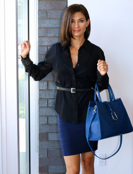 black belt shirt with dark blue pencil skirt and matching leather handbag