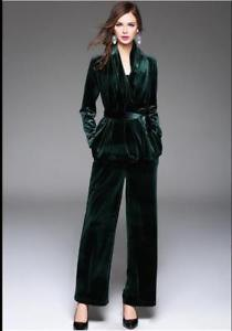 black velvet blazer with belt and trousers with wide legs