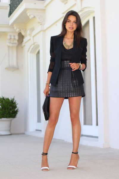 black blazer high waisted quilted jacket