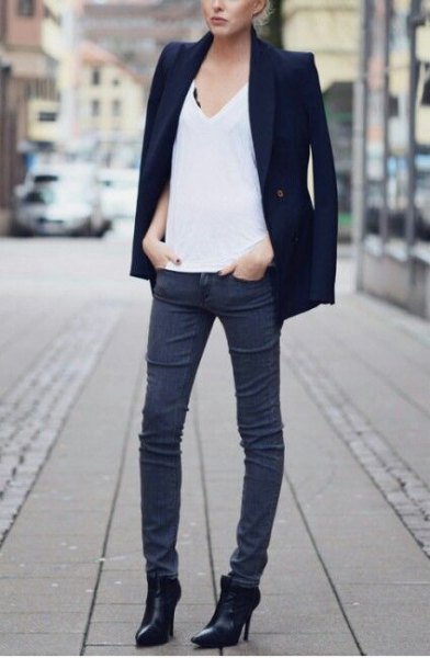black blazer pointed toe ankle boots