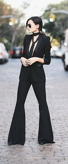 black blazer with bell-bottoms and collar