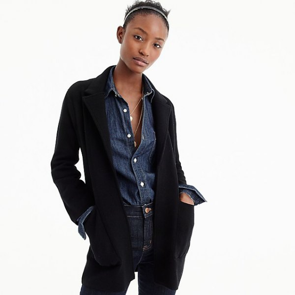 black blazer with blue chambray shirt with button