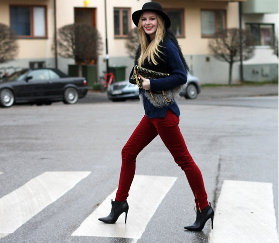 black blazer with felt hat and burgundy trousers